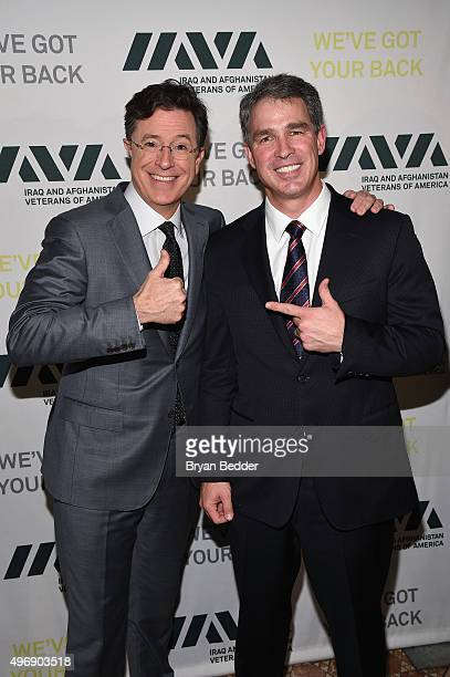 Comedian Stephen Colbert and Honoree Scott Wine attend the 9th Annual IAVA Heroes Gala at the Cipriani 42nd Street on November 12 2015 in New York...