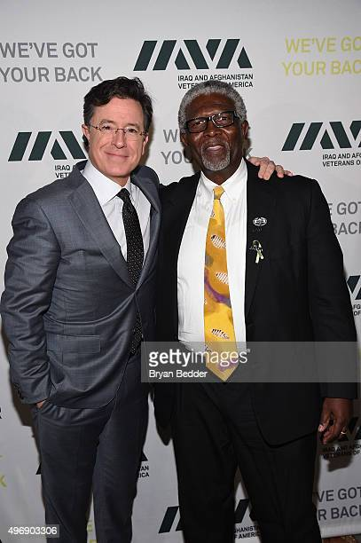 Comedian Stephen Colbert and IAVA Board Member Wayne Smith attend the 9th Annual IAVA Heroes Gala at the Cipriani 42nd Street on November 12 2015 in...