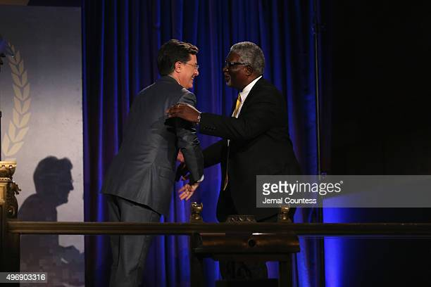Comedian Stephen Colbert and IAVA Board Member Wayne Smith speak on stage the 9th Annual IAVA Heroes Gala at the Cipriani 42nd Street on November 12...