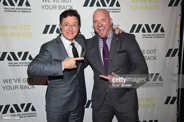 Comedian Stephen Colbert and IAVA Founder and CEO Paul Rieckhoff attend the 9th Annual IAVA Heroes Gala at the Cipriani 42nd Street on November 12...