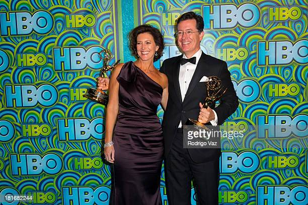 Comedian Stephen Colbert and wife Evelyn McgeeColbert arrive at HBO's Annual Primetime Emmy Awards Post Award Reception at The Plaza at the Pacific...