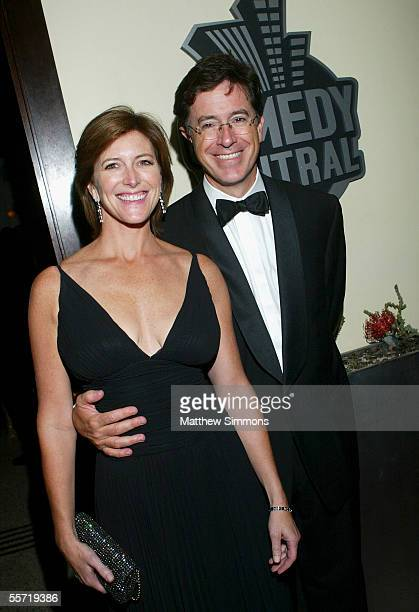 Comedian Stephen Colbert and wife Evie Colbert arrive to Comedy Central's Emmy after party at Meson on September 18 2005 in Hollywood California