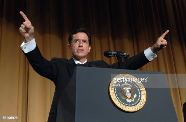 Comedian Stephen Colbert entertains guests at the White House Correspondents' Dinner April 29 2006 in Washington DC