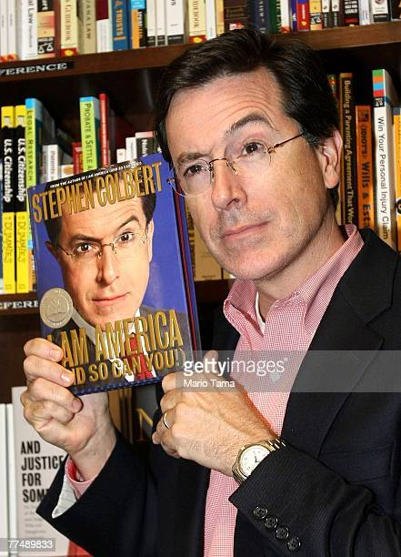 Comedian Stephen Colbert host of 'The Colbert Report' appears at a reading of his new book I Am America at the Union Square Barnes and Noble on...