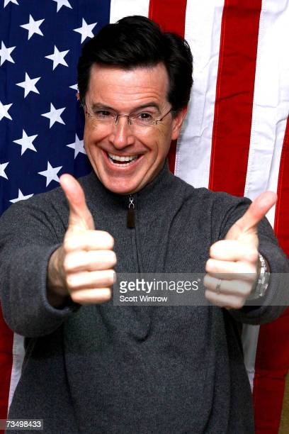 Comedian Stephen Colbert poses for photos to celebrate the launch of his new Ben Jerry's ice cream AmeriCone Dream at the Dream Hotel on March 05...