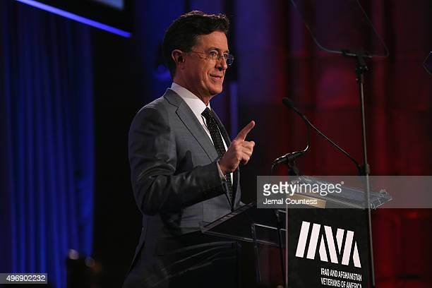 Comedian Stephen Colbert speaks onstage at the 9th Annual IAVA Heroes Gala at the Cipriani 42nd Street on November 12 2015 in New York City