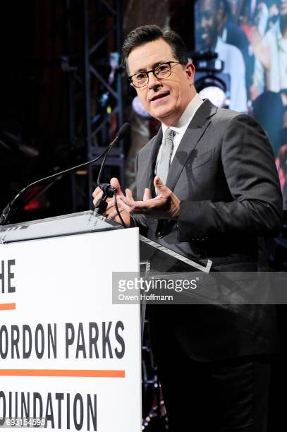 Comedian Stephen Colbert speaks onstage during the Gordon Parks Foundation Awards Dinner Auction at Cipriani 42nd Street on June 6 2017 in New York...