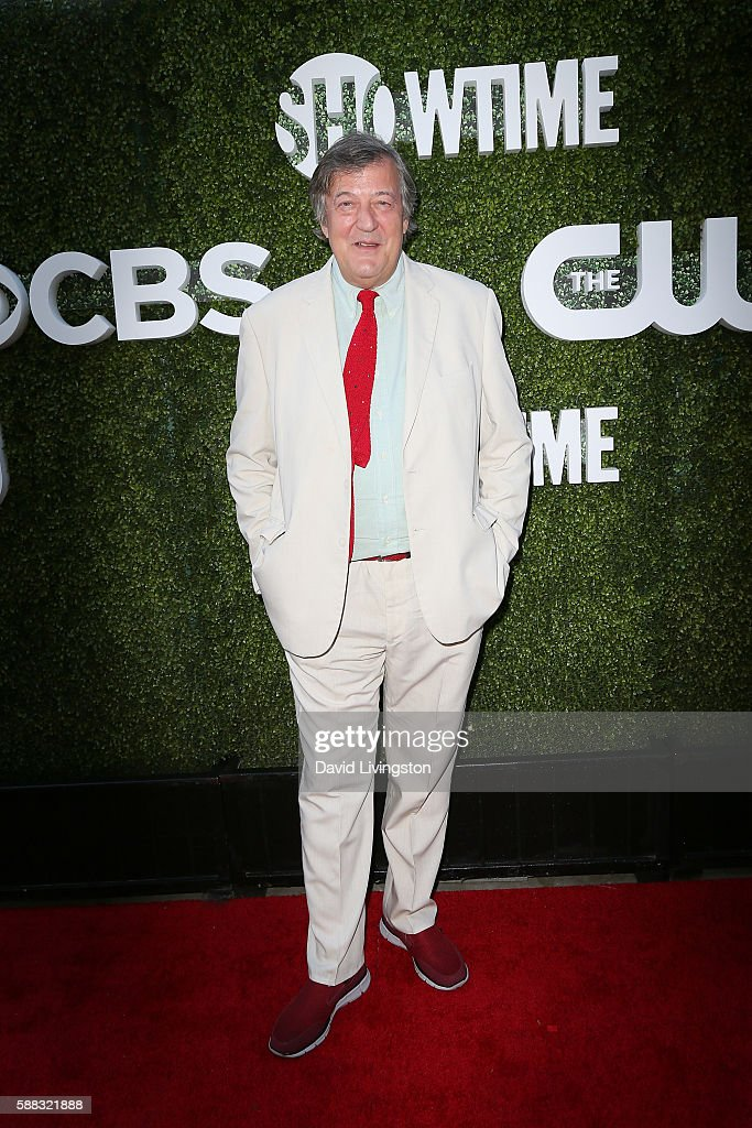 Comedian Stephen Fry arrives at the CBS, CW, Showtime Summer TCA Party at the Pacific Design Center on August 10, 2016 in West Hollywood, California.