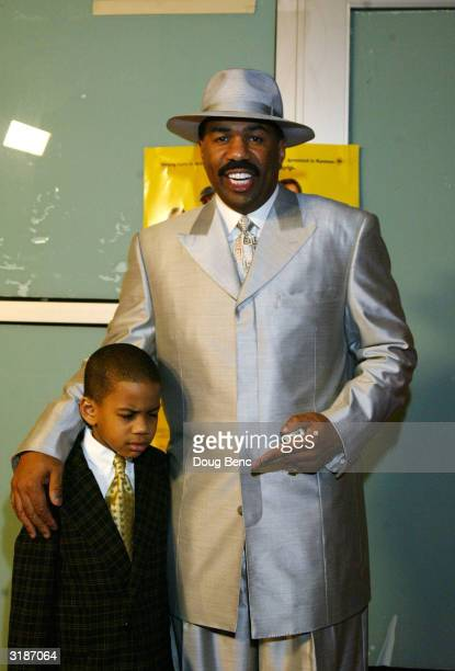 Comedian Steve Harvey and his son Wynton arrive for the premier of Johnson Family Vacation at the Cinerama Dome on March 31 2004 in Hollywood...