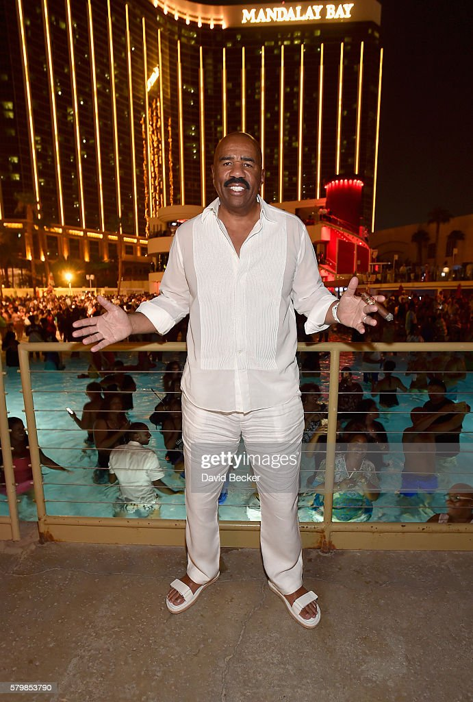 Comedian Steve Harvey attends the Neighborhood Awards Beach Party at the Mandalay Bay Beach at the Mandalay Bay Resort and Casino on July 24, 2016 in Las Vegas, Nevada.