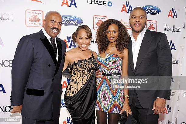 Comedian Steve Harvey, Marjorie Harvey, model Gelila Bekele and director Tyler Perry attend the 2nd annual Steve Harvey Foundation Gala at Cipriani,...