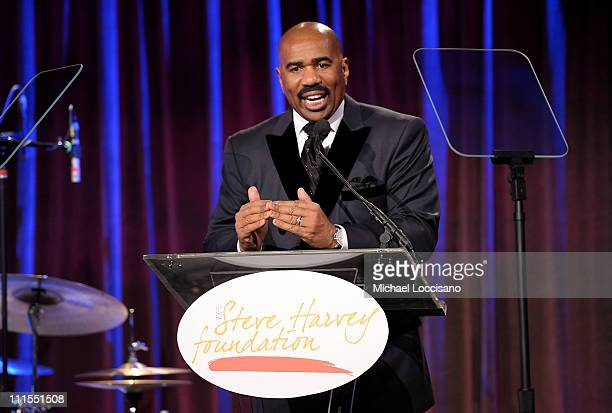 Comedian Steve Harvey speaks onstage at the 2nd annual Steve Harvey Foundation Gala at Cipriani Wall Street on April 4 2011 in New York City