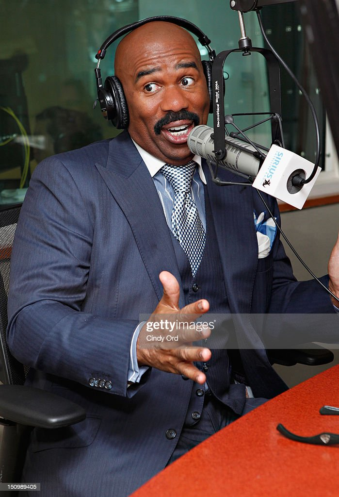 """Comedian Steve Harvey visits """"Getting Late"""" with Mark Seman on Raw Dog Comedy at the SiriusXM Studio on August 29, 2012 in New York City."""
