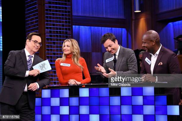 Comedian Steve Higgins Singer Faith Hill Jimmy Fallon and James Poyser play a trivia game on 'The Tonight Show Starring Jimmy Fallon' at Rockefeller...