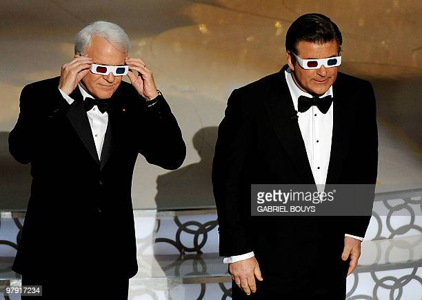 Comedian Steve Martin and actor Alec Baldwin don 3D glasses as they cohost the 82nd Academy Awards at the Kodak Theater in Hollywood California on...