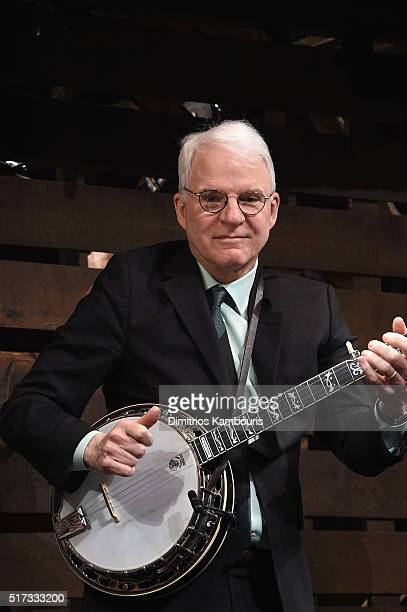 Comedian Steve Martin plays the banjo during 'Bright Star' Opening Night on Broadway Curtain Call at The Cort Theatre on March 24 2016 in New York...