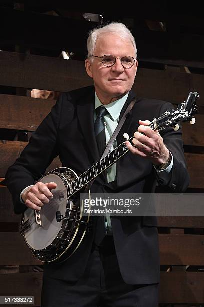 Comedian Steve Martin plays the banjo during Bright Star Opening Night on Broadway Curtain Call at The Cort Theatre on March 24 2016 in New York City