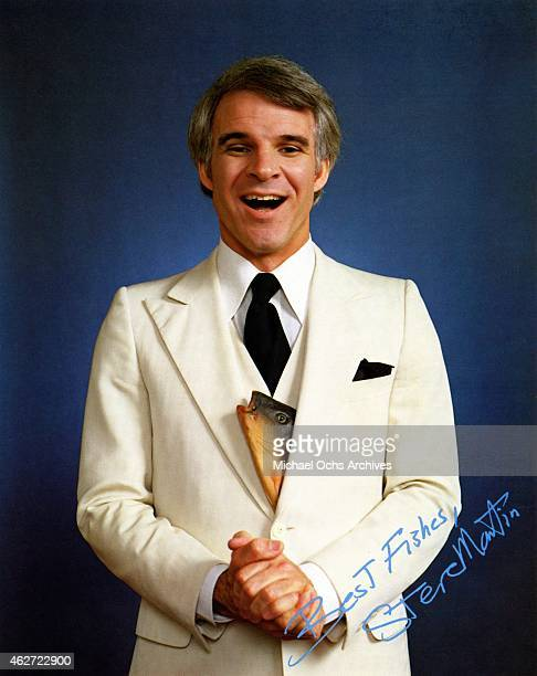 Comedian Steve Martin poses for a portrait with a fish tucked in to his 3 piece suit and signed Best Fishes Steve Martin to publicize the release of...