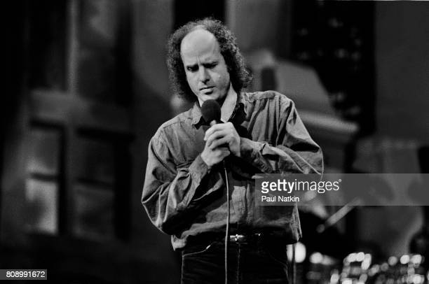 Comedian Steven Wright guests on the David Letterman Show at the Chicago Theater in Chicago Illinois May 5 1989