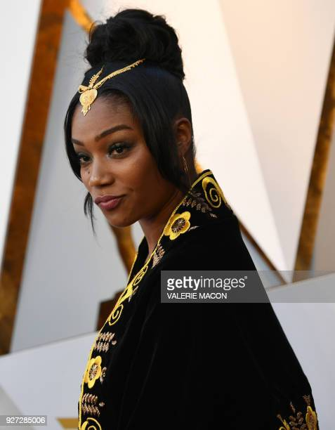Comedian Tiffany Haddish arrives for the 90th Annual Academy Awards on March 4 in Hollywood California / AFP PHOTO / VALERIE MACON
