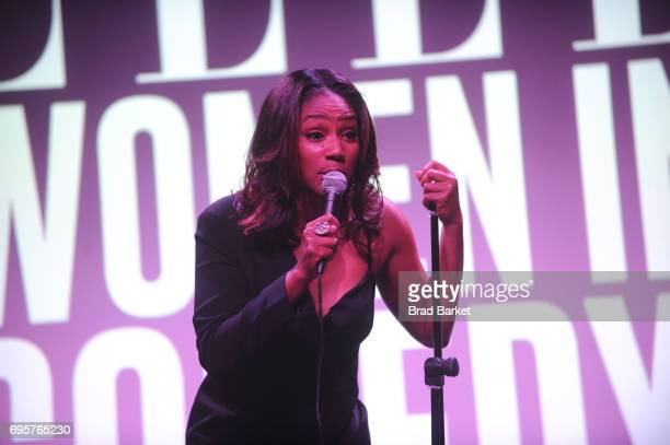 Comedian Tiffany Haddish performs on stage as ELLE hosts Women In Comedy event with July Cover Star Kate McKinnon at Public Arts at Public on June...