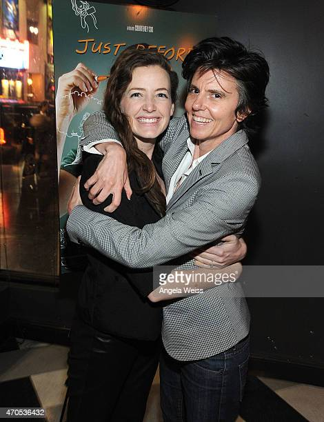 Comedian Tig Notaro and girlfriend Stephanie Allynne attend the Los Angeles Special Screening after party of Just Before I Go at Wood Vine on April...