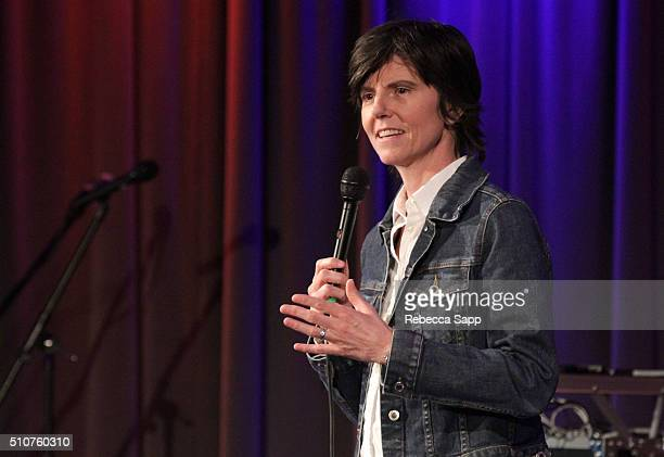 Comedian Tig Notaro performs at AUDIBLE IMPACT Music Activism Hosted By Tig Notaro at The GRAMMY Museum on February 16 2016 in Los Angeles California