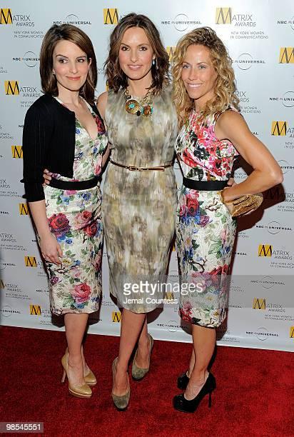 Comedian Tina Fey actress Mariska Hargitay and singer Sheryl Crow pose for photos at the 2010 Matrix Awards presented by New York Women in...