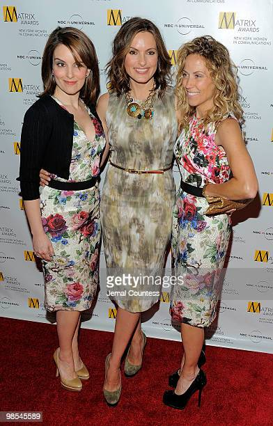 Comedian Tina Fey actress Mariska Hargitay and singer Sheryl Crow pose for photos at the 2010 Matrix Awards presented by New York Women in...