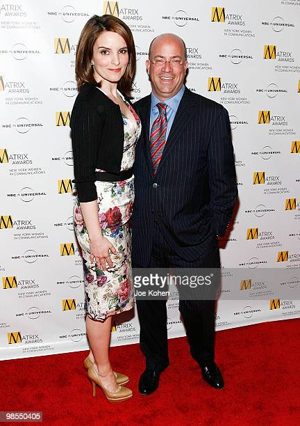 Comedian Tina Fey and President and CEO of NBC Universal Jeff Zucker attend the 2010 Matrix Awards presented by New York Women in Communications at...