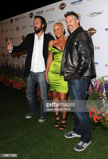 Comedian Tom Green model Amber Rose and comedian Harland Williams arrive at the 11th annual Maxim Hot 100 Party with HarleyDavidson ABSOLUT VODKA Ed...