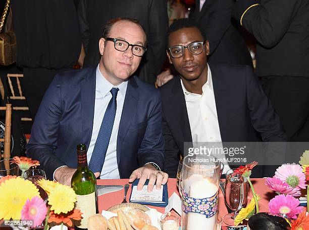 Comedian Tom Papa and actor Jerrod Carmichael attend Michael J Fox Foundation's 'A Funny Thing Happened On The Way To Cure Parkinson's' gala at The...