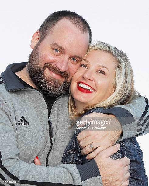 Comedian Tom Segura and comedian Christina Pazsitzky pose after their performance at The Ice House Comedy Club on February 14 2015 in Pasadena...