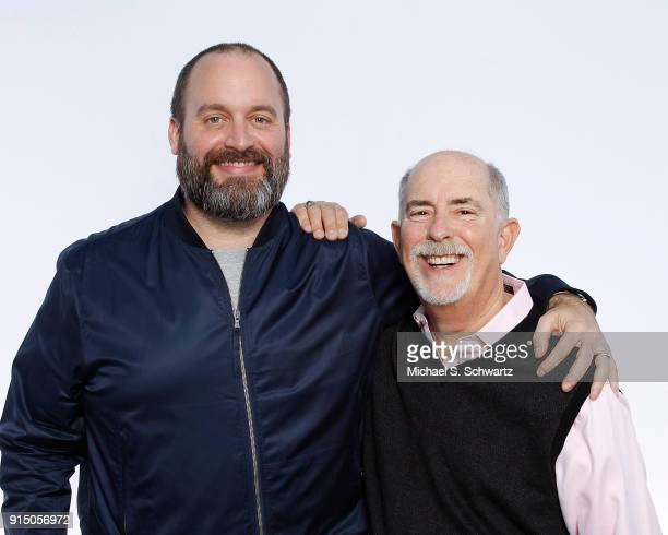 Comedian Tom Segura and Ice House owner Bob Fisher pose during their appearance at The Ice House Comedy Club on February 3 2018 in Pasadena California