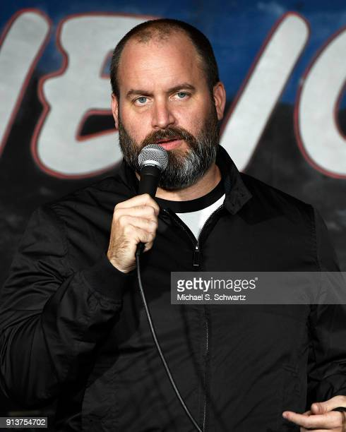 Comedian Tom Segura performs during his appearance at The Ice House Comedy Club on February 2 2018 in Pasadena California