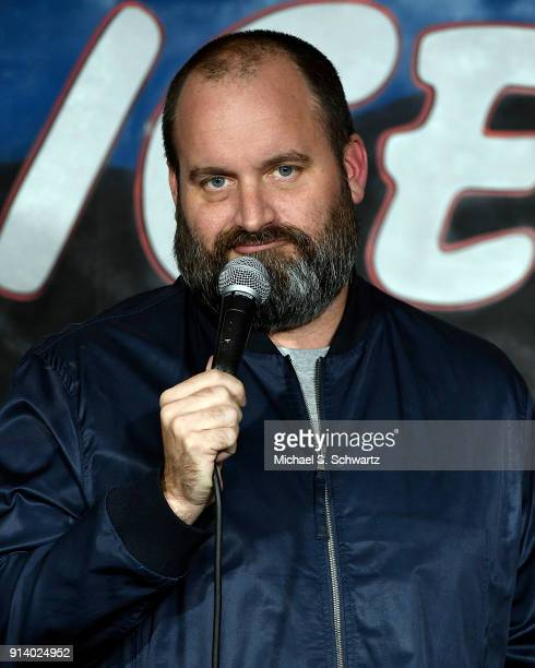Comedian Tom Segura performs during his appearance at The Ice House Comedy Club on February 3 2018 in Pasadena California