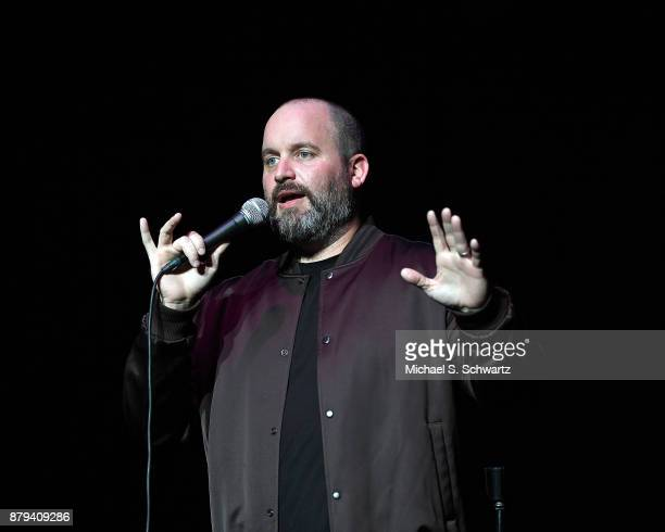 Comedian Tom Segura performs during his No Teeth No Entry Tour at The Wiltern on November 25 2017 in Los Angeles California