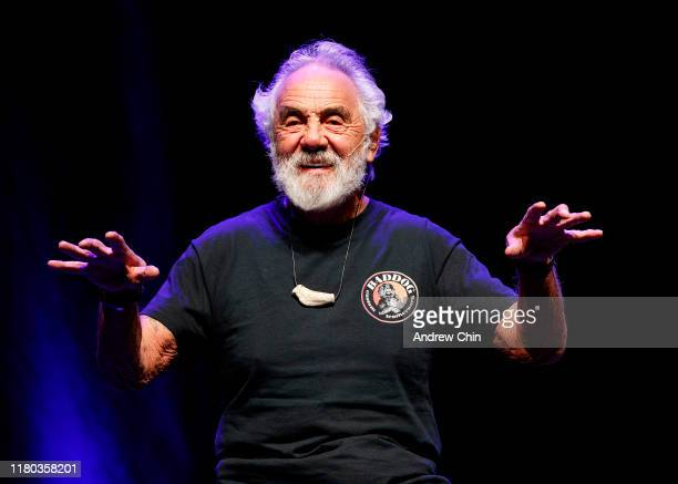 Comedian Tommy Chong speaks on stage during Cheech Chong 'O Cannabis Tour' at Abbotsford Centre on October 10 2019 in Abbotsford Canada