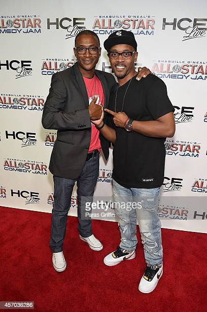 Comedian Tommy Davidson and comedian Lavar Walker attends the HCE Live presents Shaquille O'Neal All Star Comedy Jam at Cobb Energy Center on October...