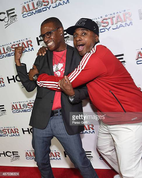 Comedian Tommy Davidson and comedian Tony Roberts attend the HCE Live presents Shaquille O'Neal All Star Comedy Jam at Cobb Energy Center on October...