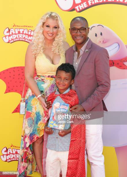 Comedian Tommy Davidson poses with his family at the Premiere Of 20th Century Fox's 'Captain Underpants The First Epic Movie' at Regency Village...