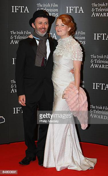 Comedian Tommy Tiernan and partner Yvonne McMahon arrive at the Irish Film TV Awards at the Burlington Hotel on February 14 2009 in Dublin Ireland