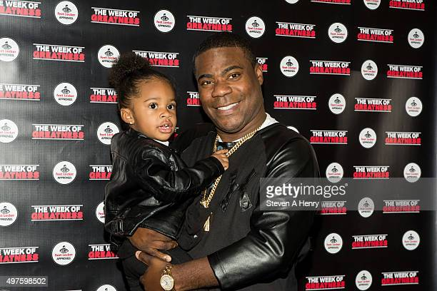 Comedian Tracy Morgan and daughter Maven attend the 4th Annual Week of Greatness Kickoff at The Wooly on November 17 2015 in New York City