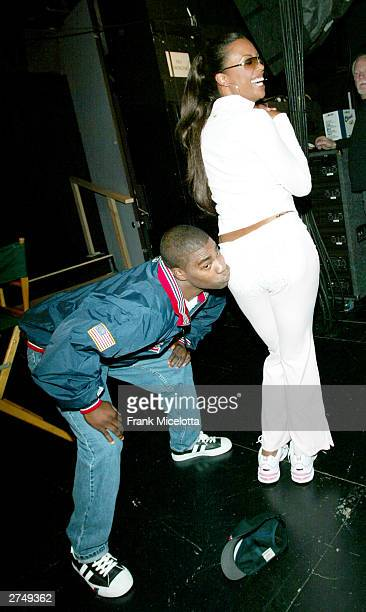 Comedian Tracy Morgan with actress Aisha Tyler pose backstage at VH1's Big In 2003 Awards on November 20, 2003 at Universal City in Los Angeles,...