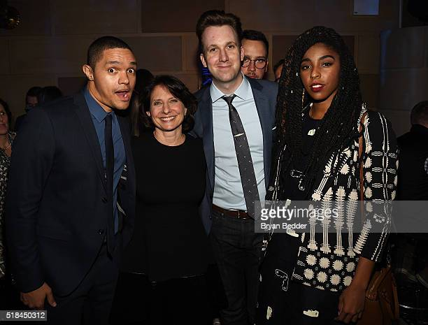 Comedian Trevor Noah President of Comedy Central Michele Ganeless and comedians Jordan Klepper and Jessica Williams attend the Comedy Central Live...