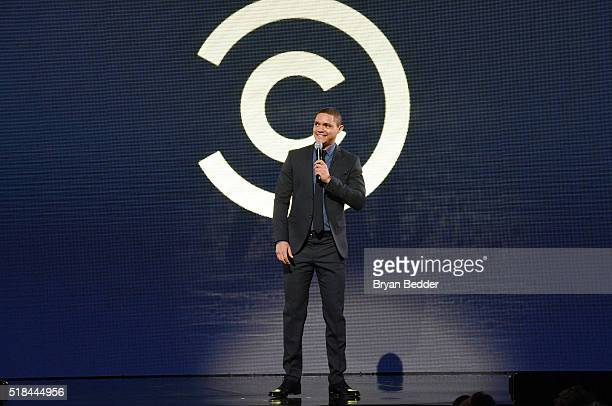 Comedian Trevor Noah speaks onstage during the Comedy Central Live 2016 upfront at Town Hall on March 31 2016 in New York City