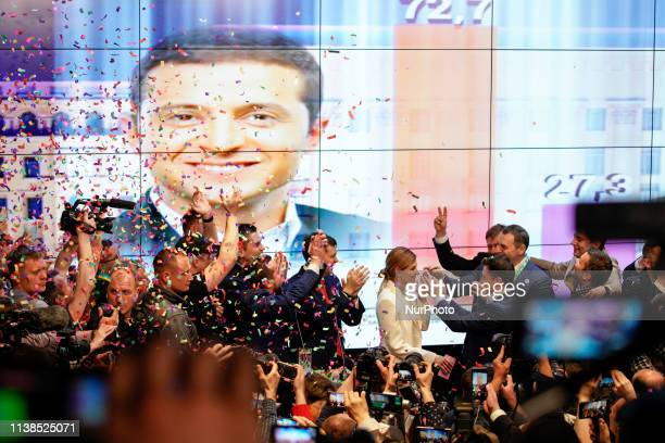 Comedian Volodymyr Zelensky is seen celebrating the announcement of the exit polls which give him 73 percent of the vote in the Presidential...