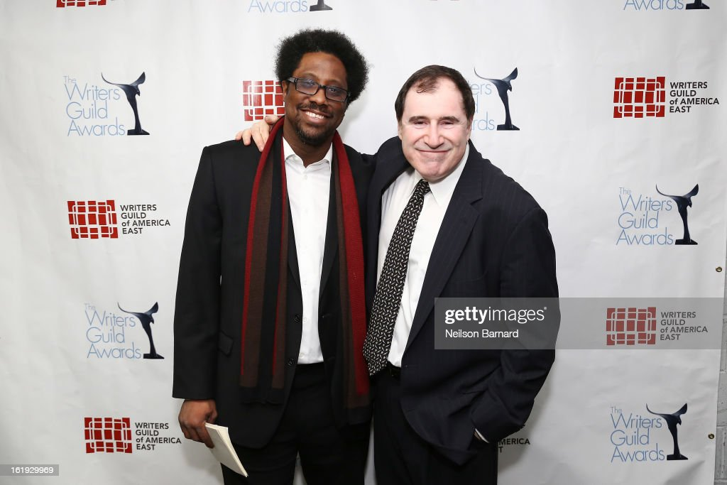 Comedian W. Kamau Bell (L) and actor Richard Kind pose backstage at the 65th annual Writers Guild East Coast Awards at B.B. King Blues Club & Grill on February 17, 2013 in New York City.