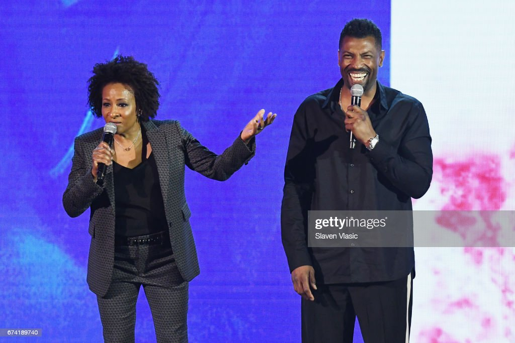 Comedian Wanda Sykes (L) and actor Deon Cole speak onstage during the 2017 BET Upfront NY at PlayStation Theater on April 27, 2017 in New York City.