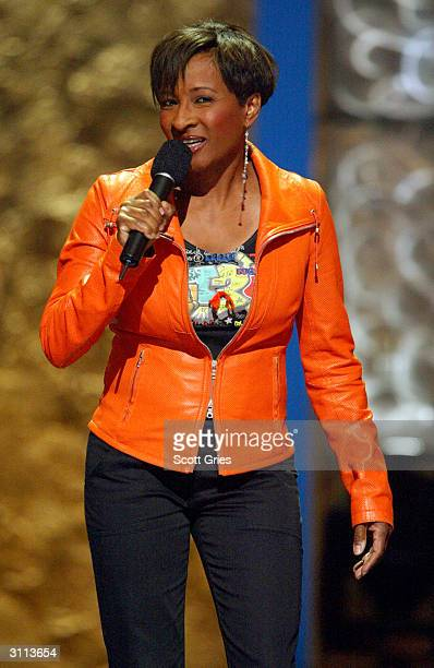 Comedian Wanda Sykes performs at the Comedy Central Bar Mitzvah Bash on March 19 2004 in the Hammerstein Ballroom at Manhattan Center Studios in New...